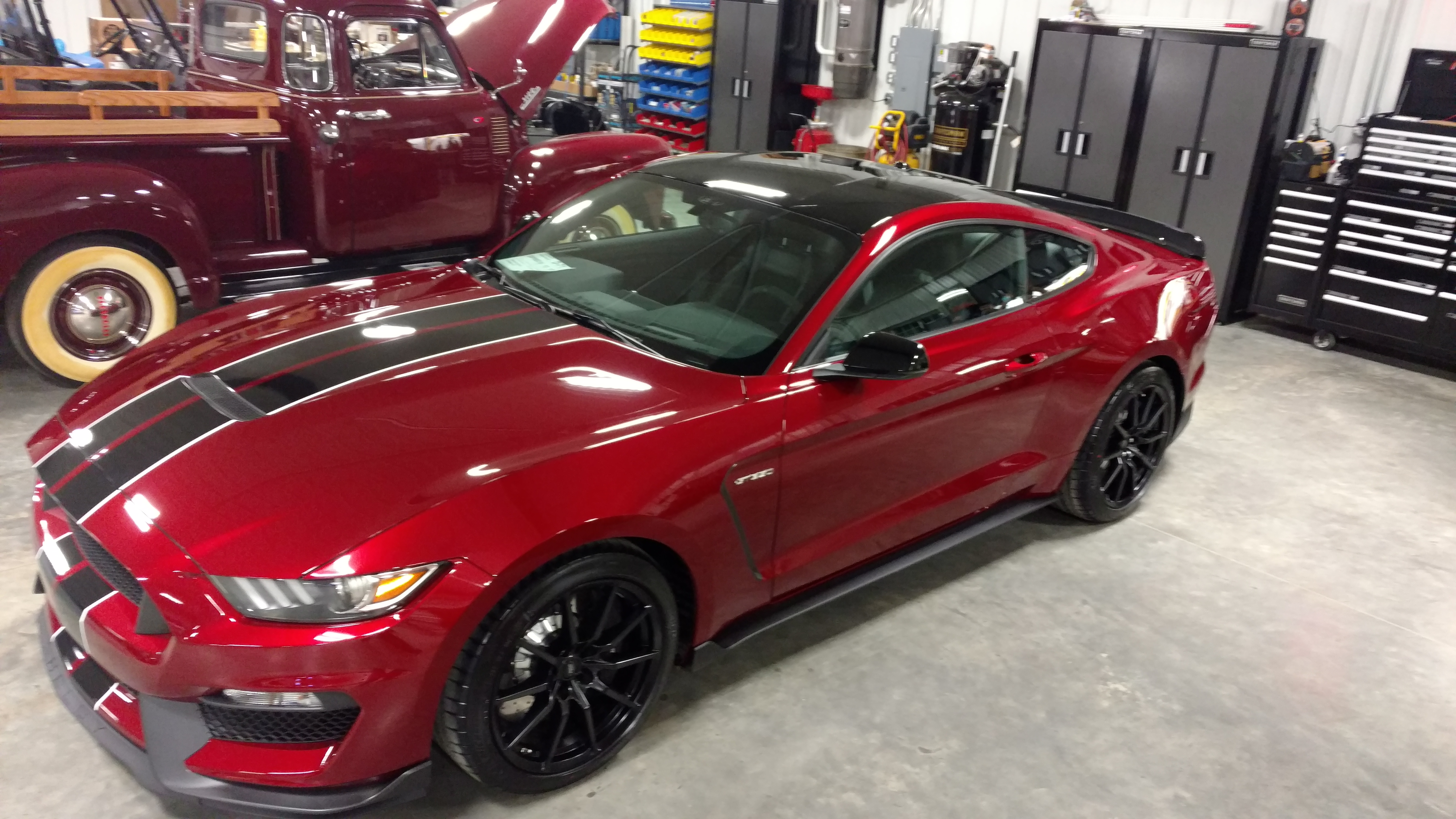 Ruby Red Black Roof And Stripes